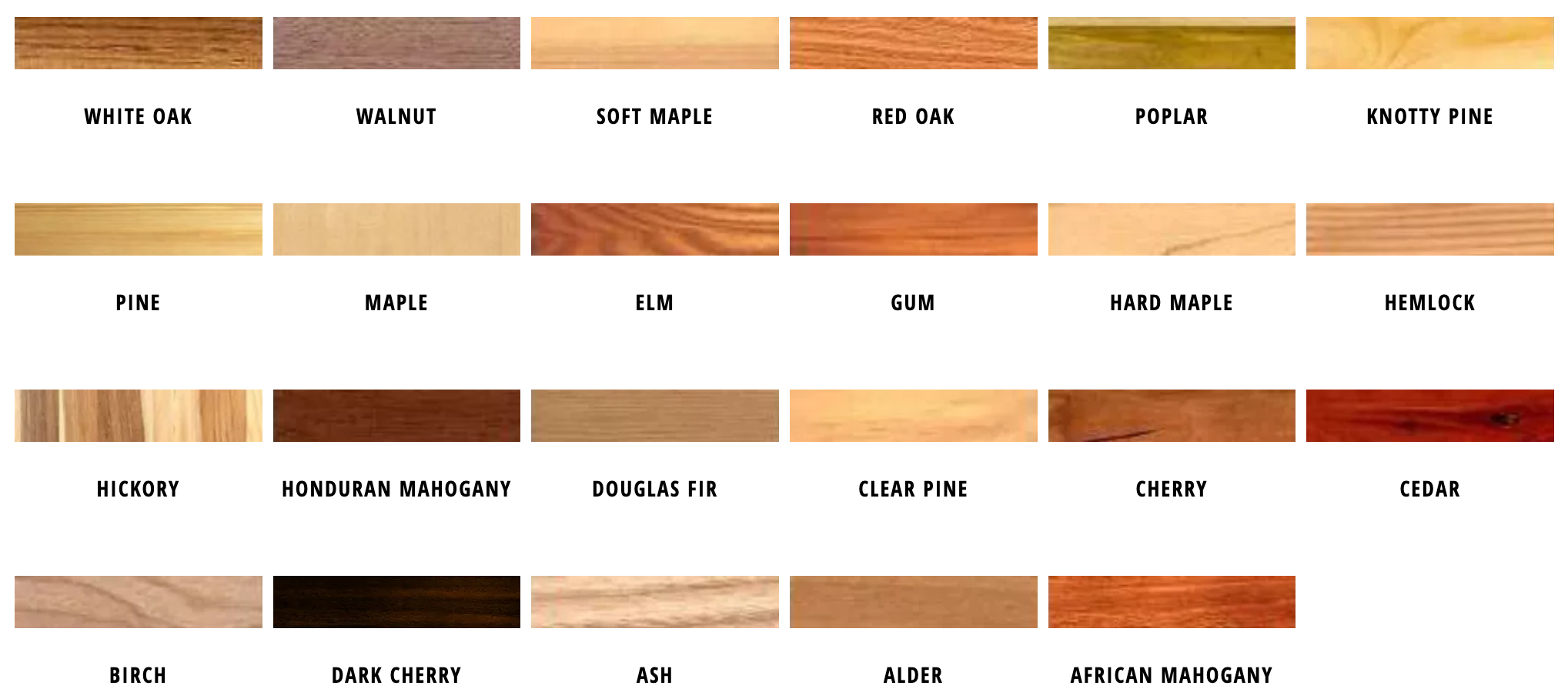 Wood Sample Swatches